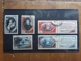 RUSSIA 1949 - 150° Anniversario Nascita Posta A. Puschkin - Nn. 1341/45 Timbrati + Spese Postali - 1923-1991 URSS