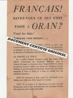 TRACT 39/45 - FRANCAIS SAVEZ VOUS CE QUI S'EST PASSE A ORAN ? - Documenti Storici