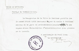 """VILLE DE GEMBLOUX - Service Du Ravitaillement """"Chaussures De Travail"""" Pour DELOOZ Louis - Gembloux - 1939-45"""