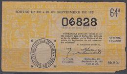 LOT-372 CUBA REPUBLIC OLD LOTTERY SORTEO DE LOTERIA No.430. 20/09/1921. - Lottery Tickets