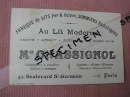 """Carte Commerciale Avec Enveloppe 22/05/1918 """"Au Lit Moderne"""" 42 Bld. St. Germain Paris """"AU LIT MODERNE"""" - Vieux Papiers"""