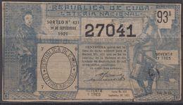 LOT-373 CUBA REPUBLIC OLD LOTTERY SORTEO DE LOTERIA No.431. 30/09/1921. - Lottery Tickets