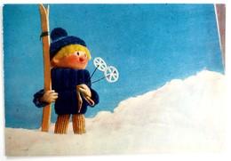 #404  Doll Skier, Handmade Model - Used Postcard 1964 - Jeux Et Jouets