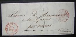 Genève 1849 Marque Rouge Sur Une Lettre Sans Timbre Pour Madame De Beaumont à La Peyrouse Dans La Drôme (France) - 1843-1852 Timbres Cantonaux Et  Fédéraux
