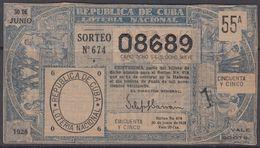 LOT-376 CUBA REPUBLIC OLD LOTTERY SORTEO DE LOTERIA No.674. 30/06/1928. - Lottery Tickets