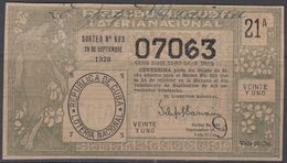 LOT-377 CUBA REPUBLIC OLD LOTTERY SORTEO DE LOTERIA No.683. 29/09/1928. - Lottery Tickets