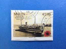 2014 MALTA CENTENARIO 1 GUERRA MONDIALE 2,00 FRANCOBOLLO USATO STAMP USED - Malta