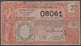 LOT-378 CUBA REPUBLIC OLD LOTTERY SORTEO DE LOTERIA No.693. 10/01/1929. - Lottery Tickets