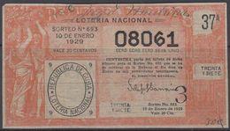 LOT-391 CUBA REPUBLIC OLD LOTTERY SORTEO DE LOTERIA No.693. 10/01/1929. - Lottery Tickets