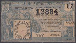 LOT-392 CUBA REPUBLIC OLD LOTTERY SORTEO DE LOTERIA No.708. 10/06/1929 - Lottery Tickets