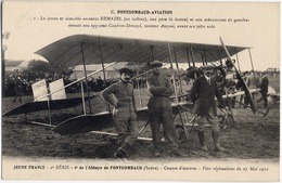 AVIATION - DEMAZEL Avec Son Père Et Son Mécanicien (Fontgombaud 1912)  CPA TOP - Biplan CAUDRON-DEMAZEL Moteur ANZANI - Aviatori