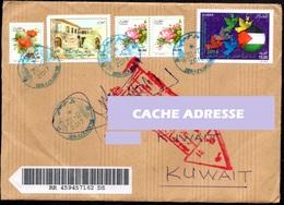 ALGERIA To Kuwait - 2017 - Registered Cover Return To Sender Retour à L'envoyeur Palestine Bar Code Label - Poste