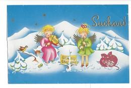 21068 - Suchard Neuchâtel  Anges Musiciens Emballage De Fêtes Plaque De Chocolat - Publicités