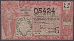 LOT-382 CUBA REPUBLIC OLD LOTTERY SORTEO DE LOTERIA No.728. 31/12/1929. - Lottery Tickets