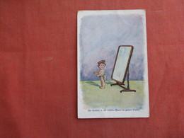 German Child  Nude As Soldier  Looking In Mirror Feldpost Cancel  Ref 3092 - Militaria