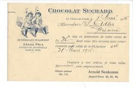 21071 -  Chocolat Suchard Grand Prix Exposition Universelle Paris 1900  Clowns La Chaux-de Fonds 01.05.1915 - Publicité