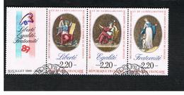 FRANCIA (FRANCE) - SG 2871.2873 - 1989 BICENTENARY FRENCH REVOLUTION (COMPLET SET OF 3 SE-TENANT + LABEL)     -    USED - France