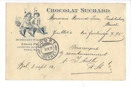 21072 -  Chocolat Suchard Grand Prix Exposition Universelle Paris 1900  Clowns  + Cachet Court 08.09.1912 Remboursement - Publicité
