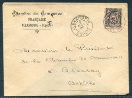 1898 Egypt Alexandria, Chambre De Commerce Francaise Cover - Chamber Of Commerce, Annonay, Ardeche France Via Lyon Gare - Alexandria (1899-1931)