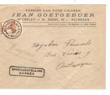 2584/ TP 113 S/L. Express(Griffe) Entête Jean Goetgebuer Cigaren-Cigares Tabac C.Mechelen 1914 V.Antwerpen C.d'arrivée - 1912 Pellens