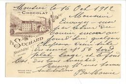 21073 -   Fabrique N°6 Bludenz Chocolat Suchard Neuchâtel Moutier 16.10.1912 - Publicité