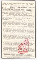 DP Alberic VandeKerckhove ° Ingelmunster 1863 † 1940 X E. Bossuyt Xx C. Verbeke - Images Religieuses