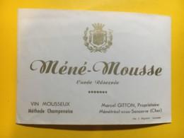 9155 - Méné-Mousse Vin Mousseux  Marcel Gitton Ménétréol Sous Sancerre - Etiquettes