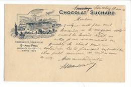 21081 -   Fabrique à Lorrach Chocolat Suchard  Grand Prix Paris 1900  Reconvillier 19.12.1906 - Publicité