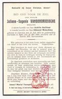 DP Juliana E. VandenDriessche ° Klerken Houthulst 1872 † Ieper 1940 X A. Baillieul Xx E. Waterbley - Images Religieuses