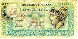ITALIE - Republica Italiana - 500 Lire - D.P.R 05 Juin 1976 - E.D.M 20 Décembre 1976 - Série R13  863305 - P.95 ? - AB - [ 2] 1946-… : République
