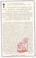 DP Albriek VanHoenackere ° Zwevegem 1878 † 1940 X Irma Terras / G. Gezelle - Images Religieuses