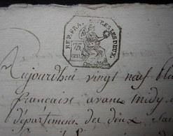 Deux Sèvres L'an 8, Mariage De Jean Goffichon Et Marie Fort - Manuscrits