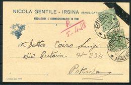 1928 Italy Nicola Gentile, Irsina, Vini Wine Illustrated Advertising Postcard - Potenza - Marcophilia