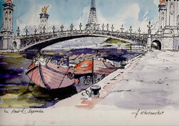 """Tableau  Aquarelle """" Le Pont Alexandre """" Signé Chevauchet  Superbe - Aquarelles"""