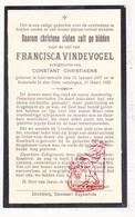 DP Francisca Vindevogel ° Lotenhulle Aalter 1857 † Ruiselede 1933 X C. Christiaens - Images Religieuses