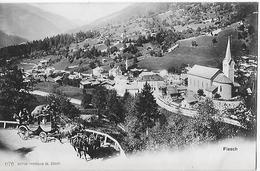 FIESCH (OBERWALLIS) → Dorfpartie Bei Der Kirche Mit Postkutsche Ca.1900 ►RRR◄ - VS Wallis