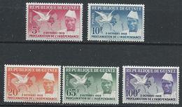 Guinée YT 3-7 XX / MNH Colombe Oiseau Bird Carte Map - Guinea (1958-...)