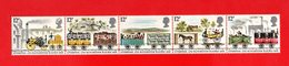 Gran Bretagna :  150°della Ferrovia Liverpool-Manchester - Striscia 5  Val. MNH**  12.03.1980 - 1952-.... (Elisabetta II)