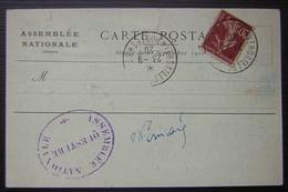 Assemblée Nationale  Séance Du 23 09 1920 Carte Postale Avec Cachet Questure, Voir Photos ! - Marcofilie (Brieven)