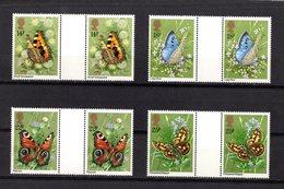 Gran Bretagna :  Farfalle - 4 Val. Con INTERSPAZIO  MNH**   Del  13.05.1981 - Nuovi
