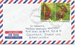 Singapore 2004. Cover Air Mail Letter,orangutan - Singapore (1959-...)