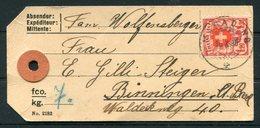 1930 Switzerland Parcel Tag. Magadino - Basel. 1Fr 20c Wappenschild - Switzerland