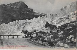 FURKASTRASSE - 5er Pferdegespann Beim Rhonegletscher In De Kehre, Ca.1910 - VS Valais