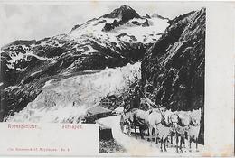 FURKASTRASSE - 5er Pferdegespann Beim Rhonegletscher Oberhalb Des Hotels, Ca.1900 - VS Valais