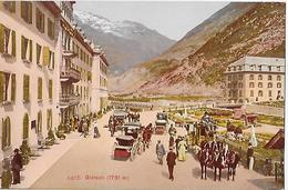 GLETSCH → Hotel Du Glacier Mit Vielen Touristen & Kutschen Davor, Ca.1910 - VS Wallis