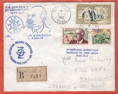 TERRES AUSTRALES LETTRE RECOMMANDEE DE 1962 DE TERRE ADELIE POUR HAGONDANGE FRANCE - Terres Australes Et Antarctiques Françaises (TAAF)