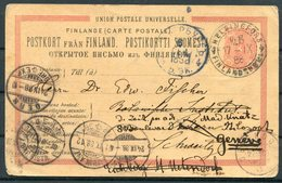 1888 Finland Stationery Postcard Helsingfors - Switzerland. Bern Geneva Ambulant Thun Redirected. Railway TPO - 1856-1917 Russian Government