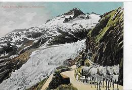 FURKASTRASSE - 5er Pferdegespann Beim Rhonegletscher Oberhalb Des Hotels, Ca.1910 - VS Valais