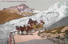 FURKASTRASSE - 5er Pferdegespann Beim Rhonegletscher Ca.1910 - VS Valais