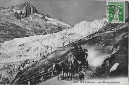 FURKASTRASSE - 5er Pferdegespann Beim Rhonegletscher Mit Touristen Anno 1914 - VS Wallis
